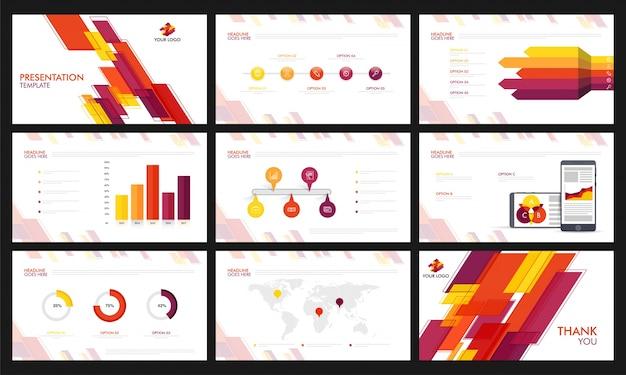 Infographicsを備えたプレゼンテーションテンプレート。