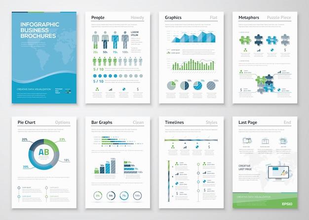 ビジネスデータの視覚化のためのinfographicsパンフレット要素