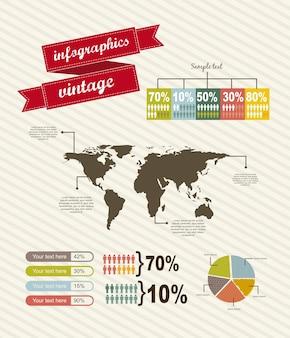地図ヴィンテージスタイルのベクトル図とinfographics