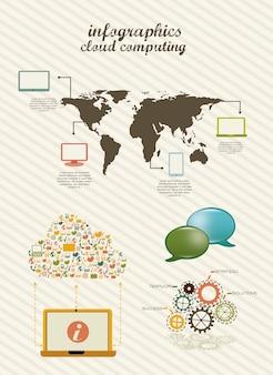Infographicsクラウドコンピューティングヴィンテージスタイルのベクトル図