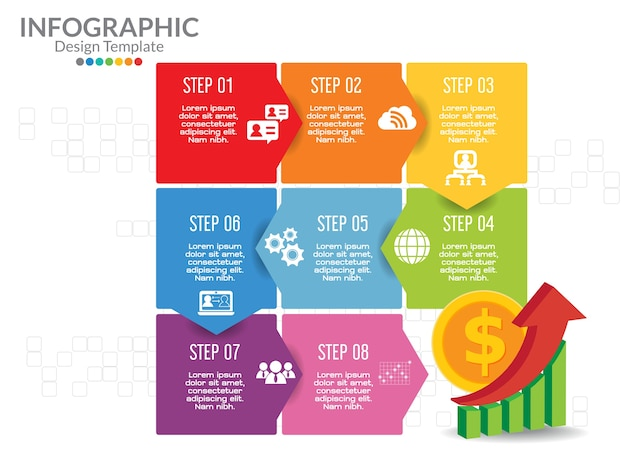 ビジネスinfographicsテンプレートは、ステップバイステップで。