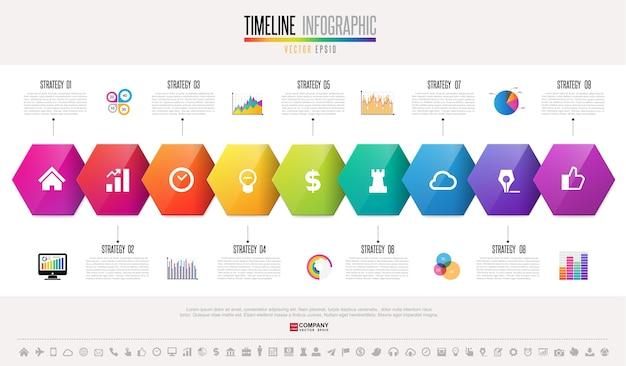 タイムラインinfographicsデザインテンプレート