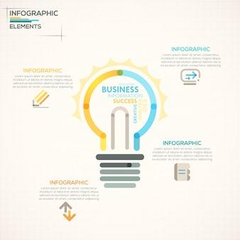 カラフルな電球と現代infographicsオプションのバナー