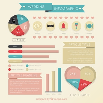 Infography for wedding in retro style