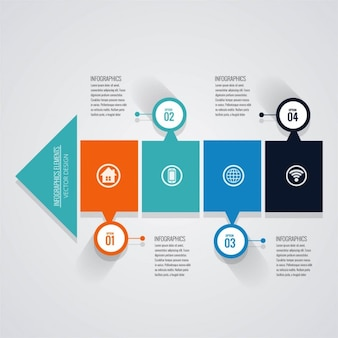 Infography with options and arrow shape