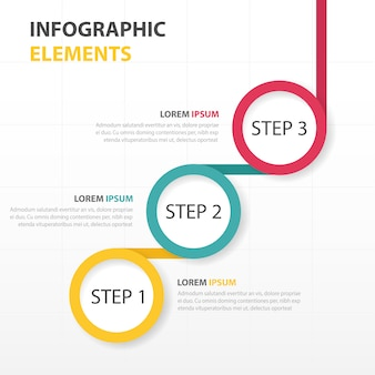 Infography with three circular steps