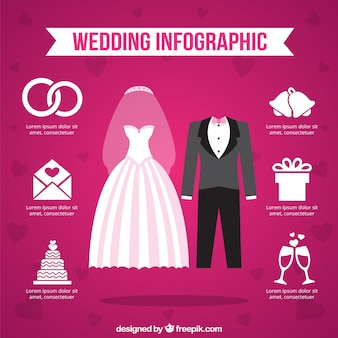 ピンクの背景に結婚式infography