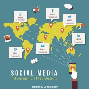 Социальные медиа infography в плоском дизайне
