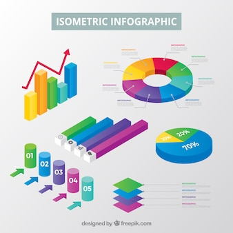 Inforgraphic elements collection in isometric style