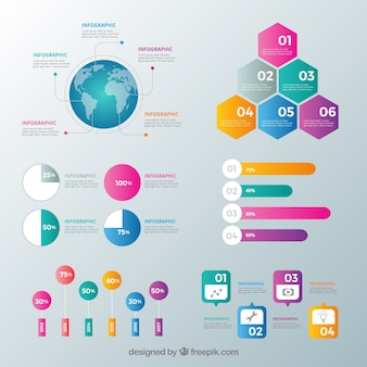 Inforgraphic elements collection with many colors