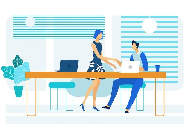 Неформальная деловая встреча с плоским иллюстрация