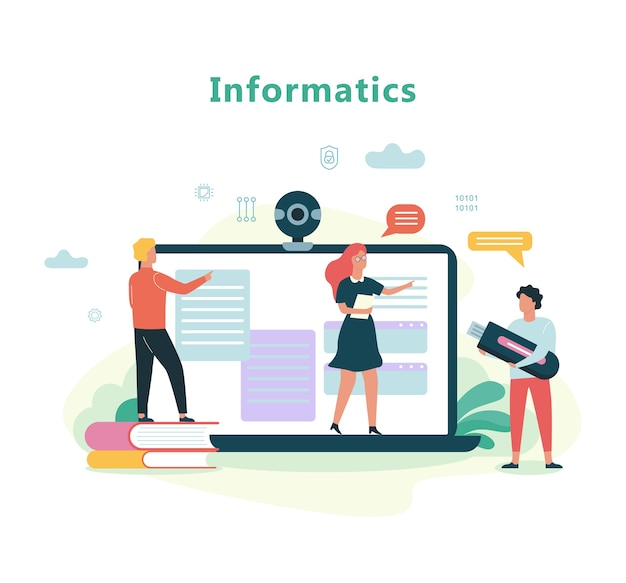 Informatics school subject. education on the computer