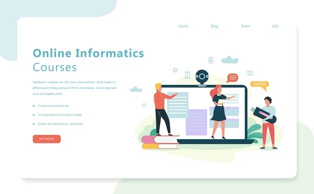 Школьные предметные онлайн-курсы информатики. обучение на компьютере, современные технологии. экран портативного компьютера. иллюстрация