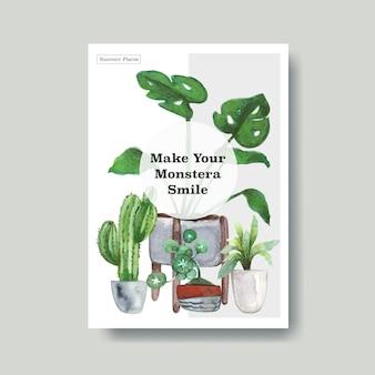 광고, 전단지, 소책자 수채화 그림 여름 식물과 집 식물 템플릿 디자인에 대한 정보