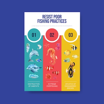 Информация о концепции всемирного дня океанов с акварельным вектором морских животных