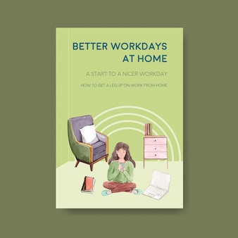 Information advice template when people are working from home. home office concept watercolor vector illustration