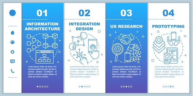 Information architecture onboarding mobile web pages template. responsive smartphone website interface idea with linear illustrations. webpage walkthrough step screens. color concept