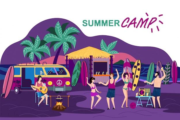 Information banner summer camp  cartoon