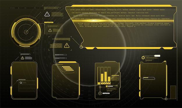 情報ボックスバーと最新のデジタル情報フレームレイアウトテンプレート。ゲームuiuxに適しています。