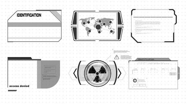 Панели информационных блоков и современные шаблоны макетов цифровых информационных фреймов. подходит для игры uiux.
