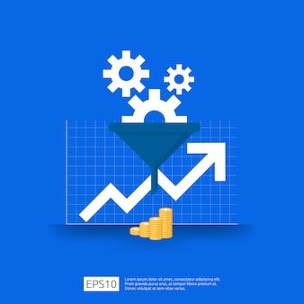 じょうご、お金、およびグラフオブジェクトの要素を持つフィルターコンセプトの情報データコレクション。ビジネス戦略概念のデジタルマーケティング分析。フラットデザイン