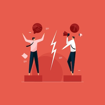 Information exchange and effective communication gap two business person arguing and quarrel