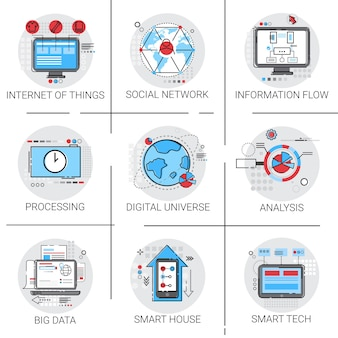 Information flow global data icon set