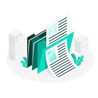 Information folders isometric style