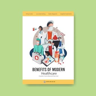 Информационный дизайн шаблона здравоохранения с медицинским персоналом и врачами и пациентами