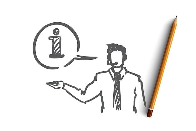 情報、ヘルプ、サポート、連絡先、オペレーターの概念。手描きのコールマネージャーは、クライアントの服のコンセプトスケッチに情報を提供します。