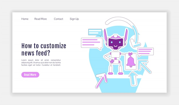Information notification bot landing page flat silhouette template. homepage layout. news feed customizing one page website interface with cartoon outline character. web banner, webpage