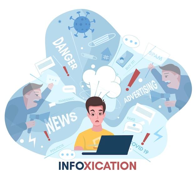 정보 과부하, 정보 중독. 정치, covid-19, 인터넷 광고, 소셜 미디어 뉴스, 벡터 일러스트 레이 션.