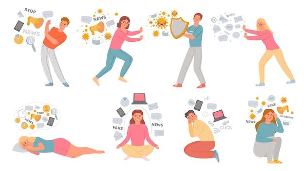 情報過多。データに圧倒される男女。人々はニュースやソーシャルネットワークのストレスから身を隠します。デジタル衛生概念ベクトルセット。問題のあるイラスト、危険なフェイクニュース