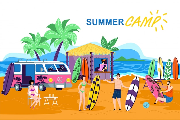Information poster inscription summer camp cartoon