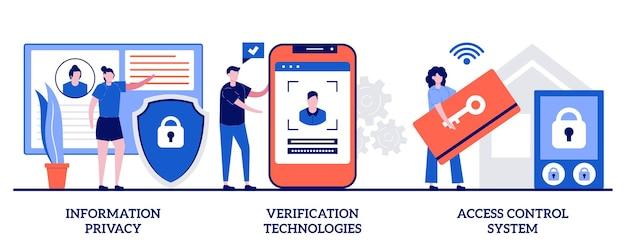 정보 보호, 검증 기술, 액세스 제어 시스템. 디지털 보안 세트 프리미엄 벡터