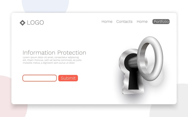 Information protection, landing page concept. vector illustration