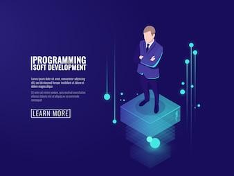 Информационная безопасность, мужчина в деловом костюме, поток данных