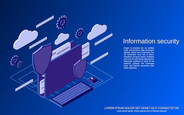 Информационная безопасность плоская изометрическая векторная иллюстрация концепции
