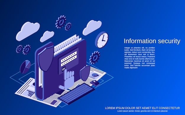 Information security flat isometric vector concept illustration