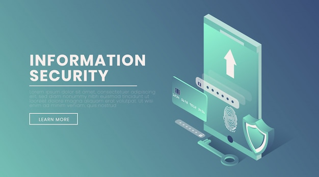 Information security landing page vector 3d template
