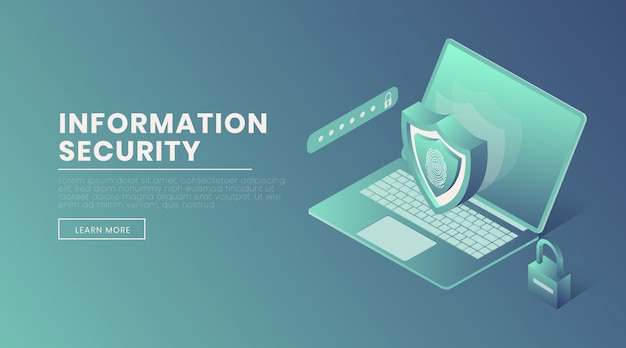 Information security landing page vector template