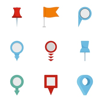 Information sign icon set, flat style