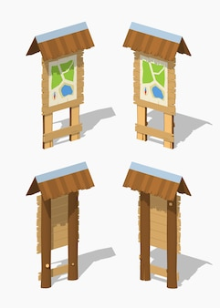 Information stand with the paper map. 3d lowpoly isometric vector illustration.