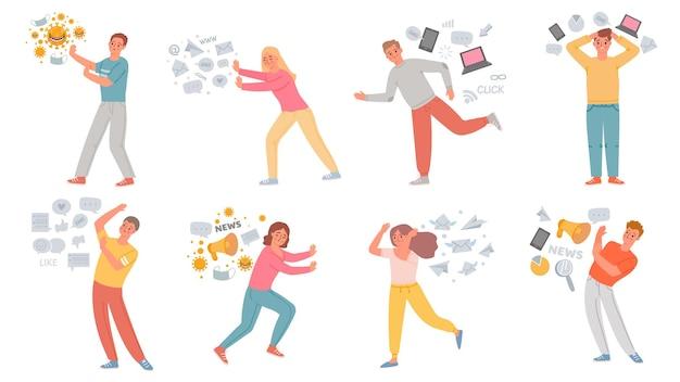 情報ストレス。データの過負荷、宣伝、インターネットソーシャルメディア、フェイクニュース、パンデミックパニック、ベクターセットから逃げる不安の人々。イラスト不安情報、問題、ストレス