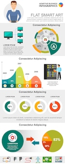 Information technologies concept infographic charts set