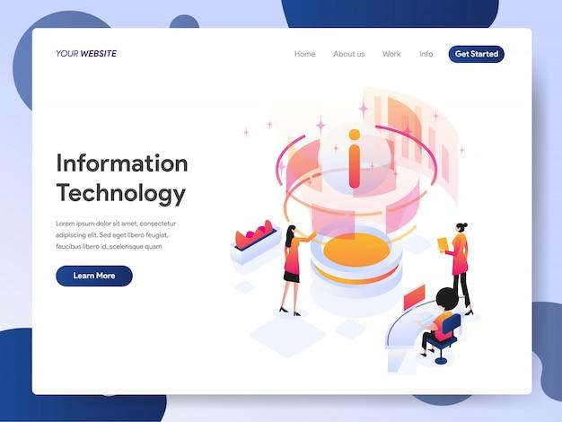 Information technology designer banner of landing page