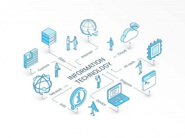 Information technology isometric concept. integrated infographic system. people teamwork. device, it, content cloud symbols. program code, tech data, network, server pictogram