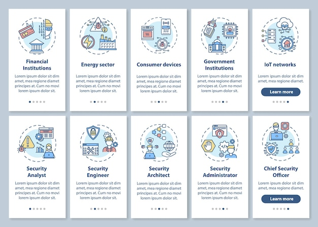 Information technology security onboarding mobile app page screen with concepts set