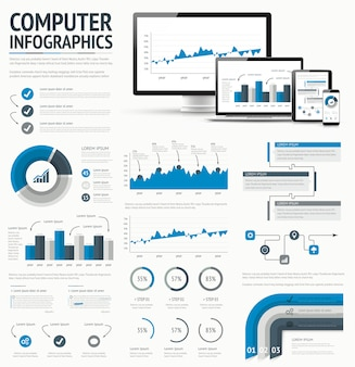 Information technology statistics infographic elements template vector illustration.