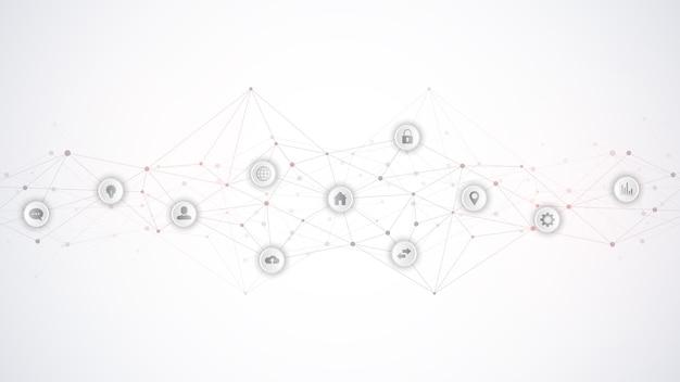 要素とフラットアイコンを備えた情報技術。抽象的な技術的背景。デジタル技術、ネットワーク接続および通信の概念。